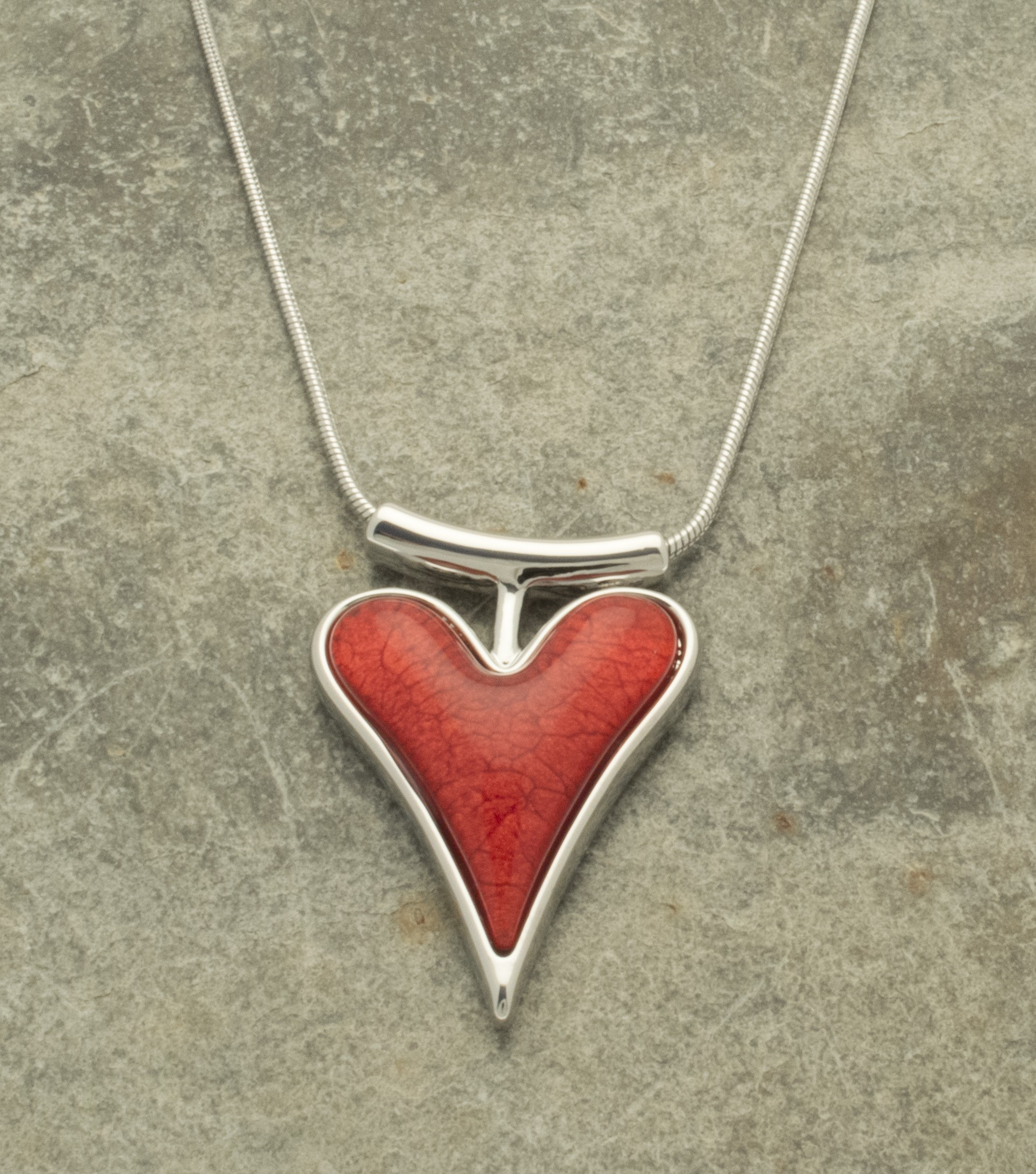 folded necklace creased heart tamir by red zuman