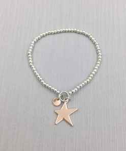 304706eb70ac6 Silver Beaded Bracelet with Rose-Gold Star Charm